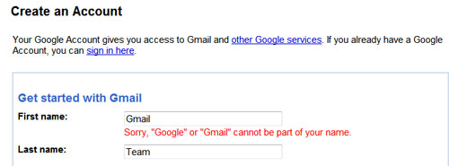 Google or Gmail cannot be used as first or last name